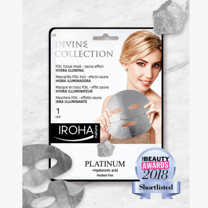 IROHA PLATINUM masque tissu Platine - effect de sauna - Hydra illuminant